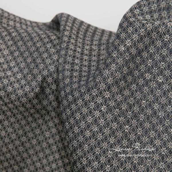 Linen cotton black grey patterned fabric 1