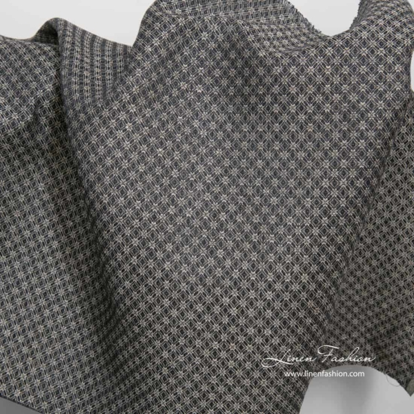 Linen cotton black grey patterned fabric 2