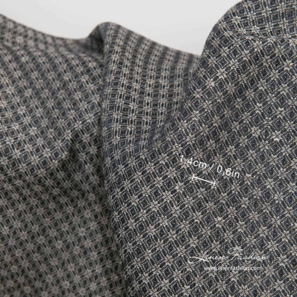 Linen cotton black grey patterned fabric 3