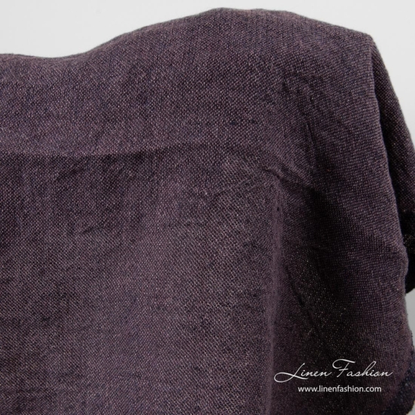 Washed linen fabric in fig color 1