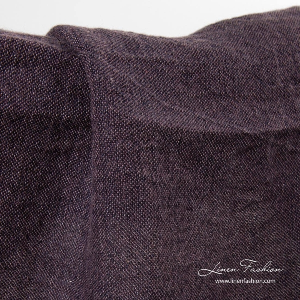 Washed linen fabric in fig color 2