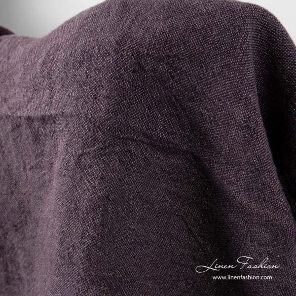 Washed linen fabric in fig color 3