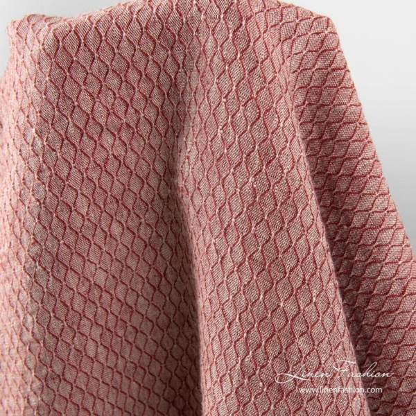 Red linen patterned fabric, washed 2