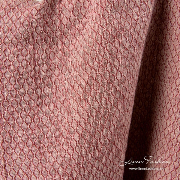 Red linen patterned fabric, washed 3