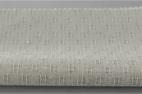 Grey linen cotton fabric in tiny squares 2