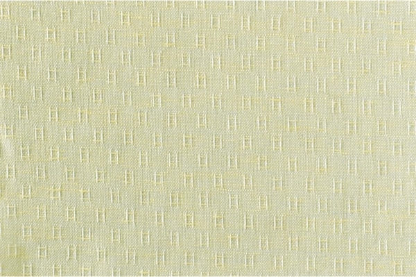Yellow linen cotton fabric in tiny squares 1