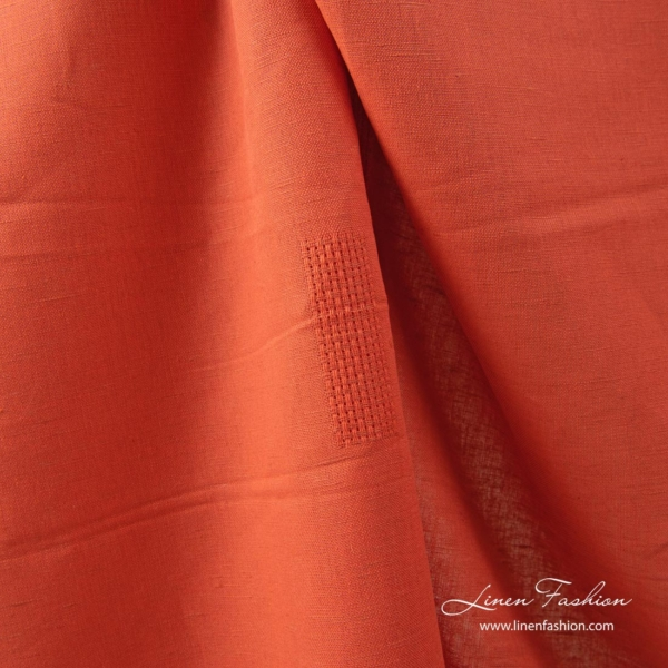 Flame red linen cotton fabric with openwork rectangles 1