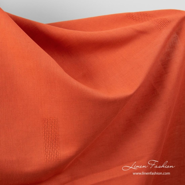 Flame red linen cotton fabric with openwork rectangles 2