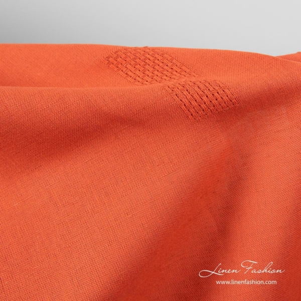 Flame red linen cotton fabric with openwork rectangles 3