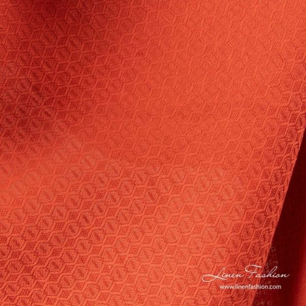 Red honeycomb pattern linen cotton fabric 1