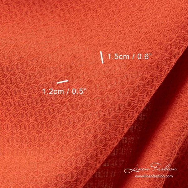 Red honeycomb pattern linen cotton fabric 2