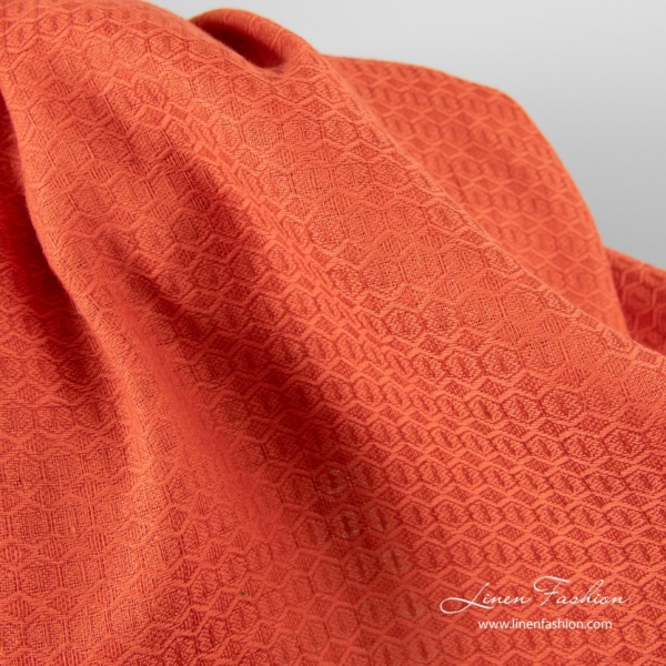 Red honeycomb pattern linen cotton fabric 3