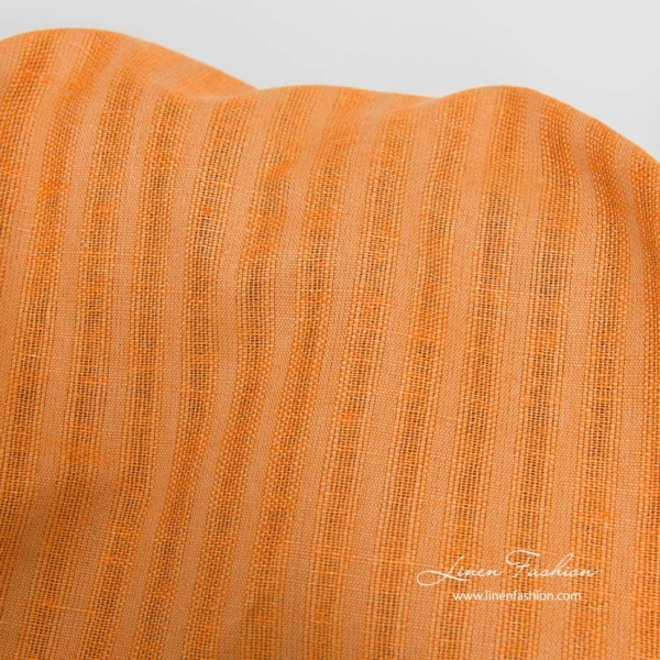 Orange linen cotton striped fabric 2