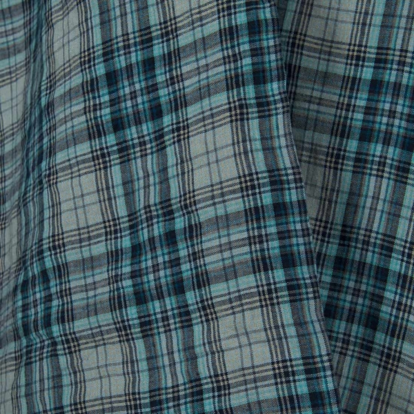 Washed linen fabric in bluish green checks 1