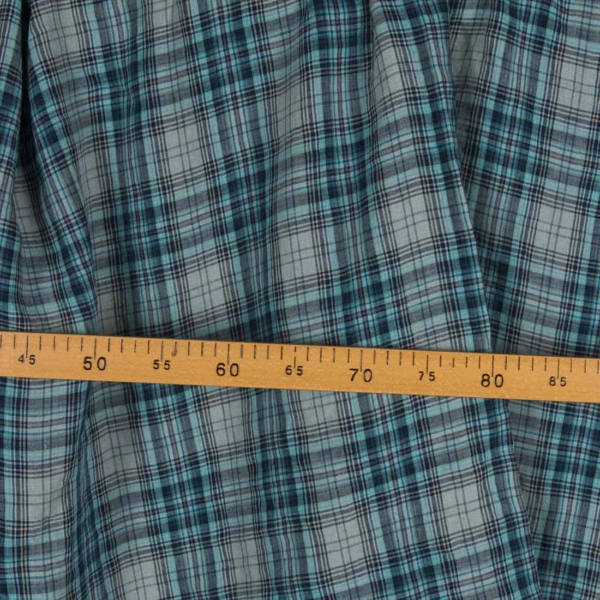 Washed linen fabric in bluish green checks 2
