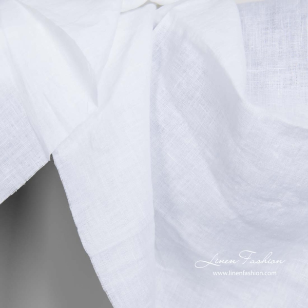 Washed bright white linen fabric 1