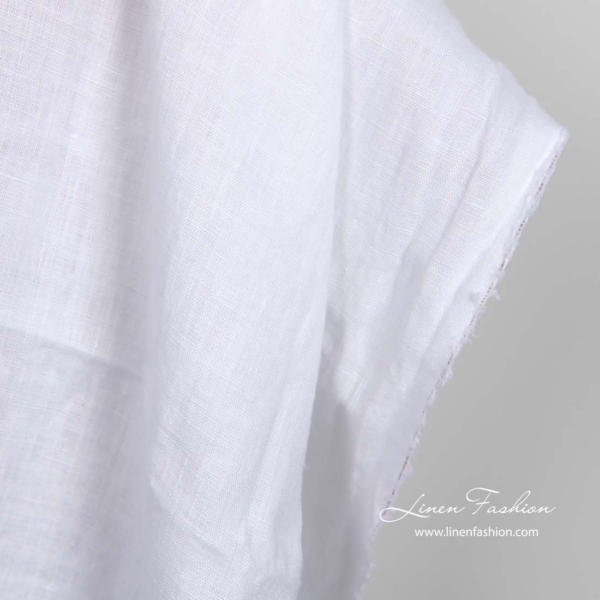 Washed bright white linen fabric 2