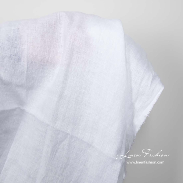 Washed bright white linen fabric 3
