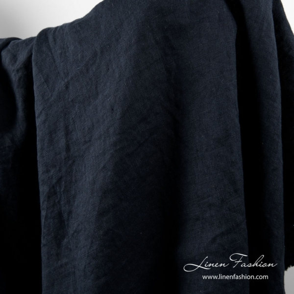 Washed linen fabric in navy color 1