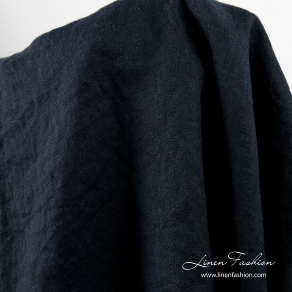 Washed linen fabric in navy color 2