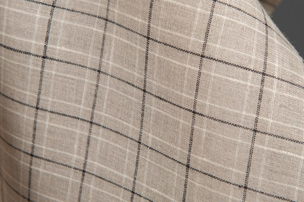 Grey linen fabric in black and white checks 1