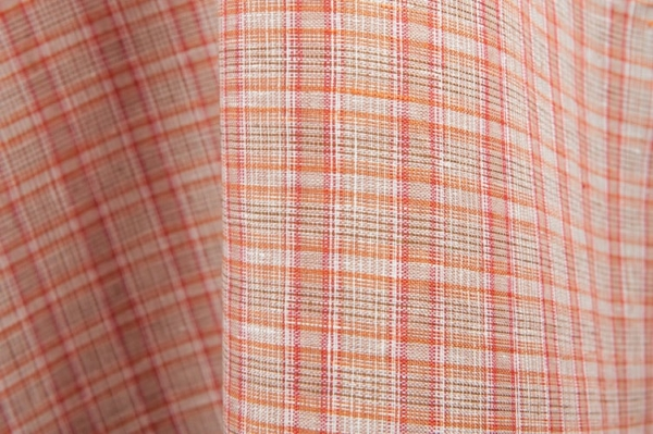 Red and white checked linen fabric 1