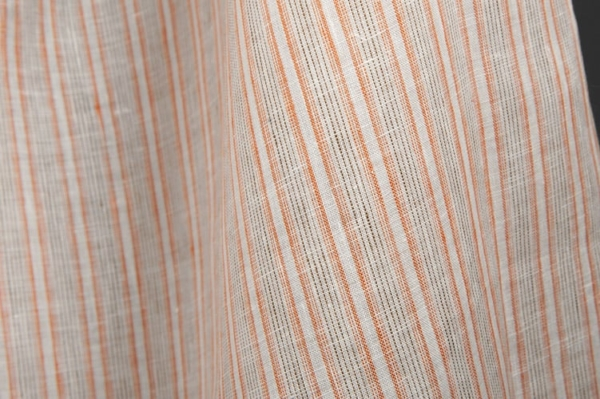 Off-white linen fabric in brown stripes 1