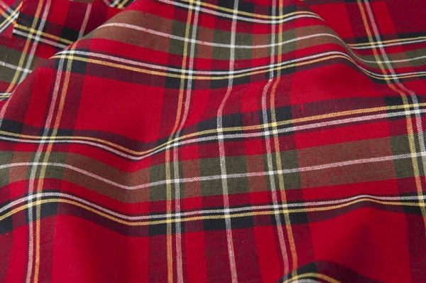 Red plaid linen cotton fabric 1