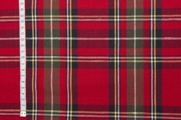 Red plaid linen cotton fabric 2
