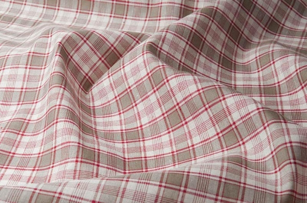 Checked linen cotton fabric in grey, white and red 1
