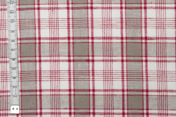 Checked linen cotton fabric in grey, white and red 2