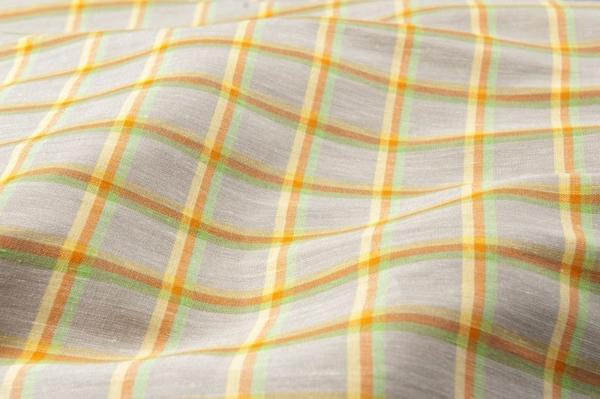Grey linen / cotton fabric in colourful checks 1