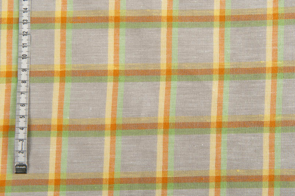 Grey linen / cotton fabric in colourful checks 2