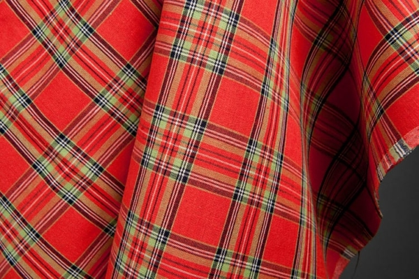 Plaid linen cotton fabric in red 1