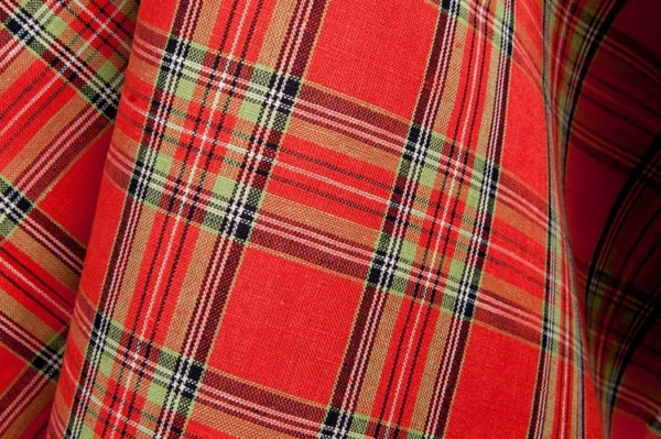 Plaid linen cotton fabric in red 2