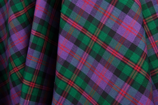 Purple and green plaid linen / cotton fabric 1