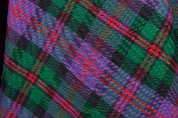Purple and green plaid linen / cotton fabric 2