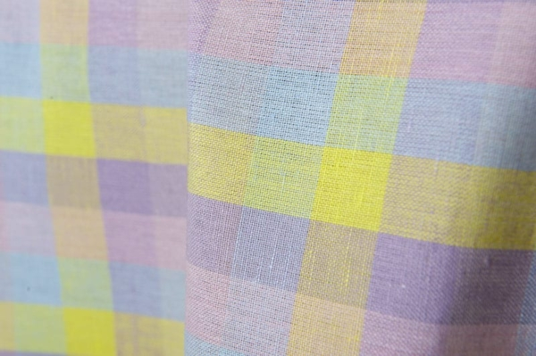 Colourful checked linen / cotton fabric 2