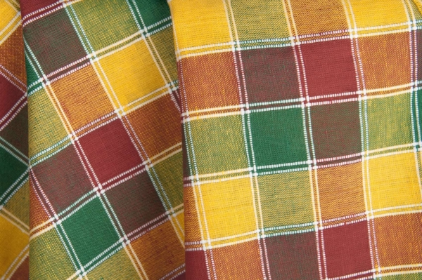 Yellow, green and red checked linen / cotton fabric 1