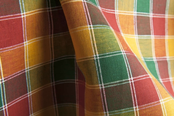 Yellow, green and red checked linen / cotton fabric 2