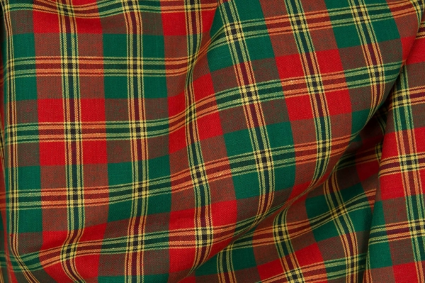Plaid linen cotton fabric in green, red colours 1
