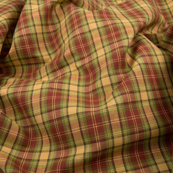 Linen cotton fabric in red, green and yellow checks 1