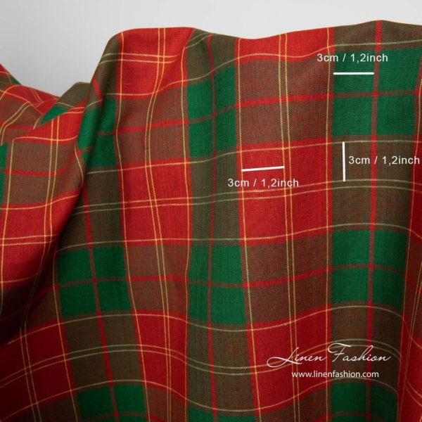 Linen cotton fabric in red and green checks 3