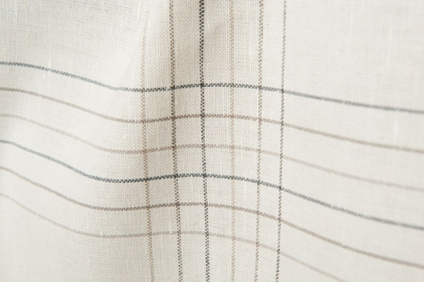 Striped linen / cotton fabric in ivory colour 2