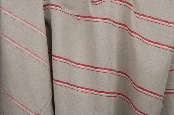 Grey linen / cotton fabric with red stripes 1