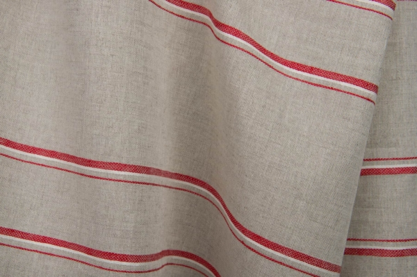 Grey linen / cotton fabric with red stripes 3