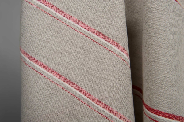 Grey linen / cotton fabric with red stripes 4