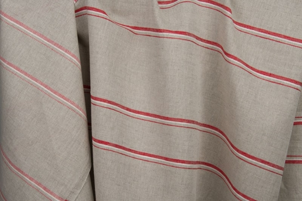 Grey linen / cotton fabric with red stripes 2