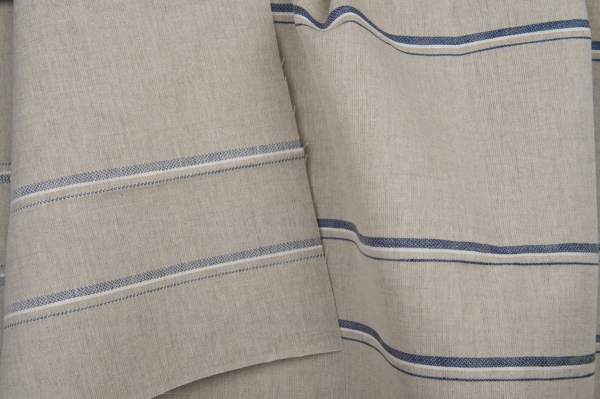 Grey linen / cotton fabric with blue stripes 3