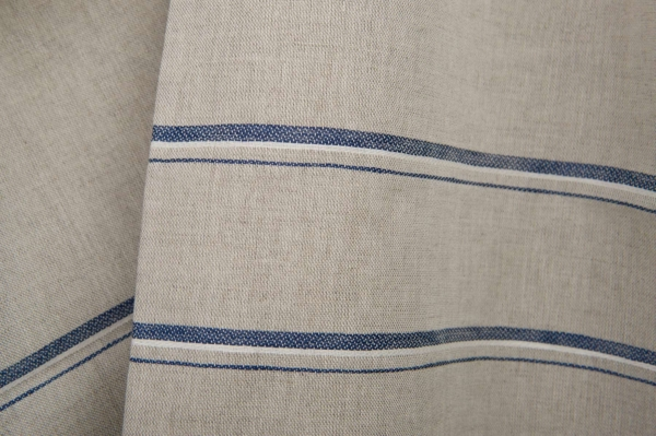 Grey linen / cotton fabric with blue stripes 1